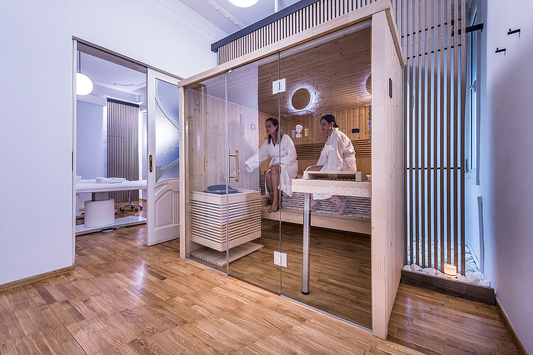 Interior view of Atmosphere Spa in Thessaloniki Greece designed by Office 25 Architects.
